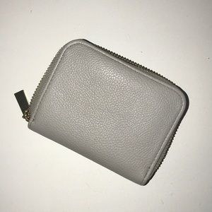 Light grey gold zipper accordion wallet